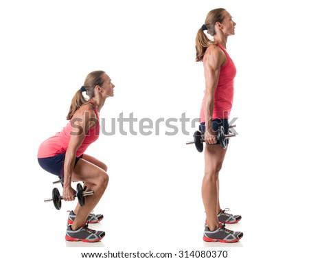 Dumbbell squat exercise. Studio shot over white. - stock photo