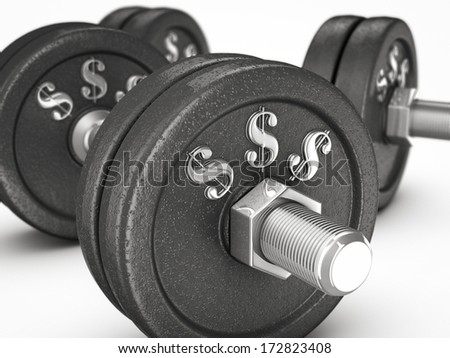 dumbbell weights with dollar sign. white background. - stock photo