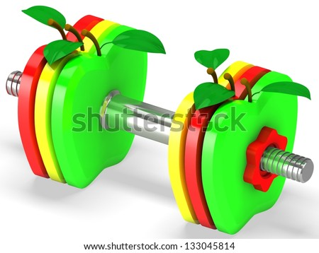 Dumbbell with apples. Healthcare concept