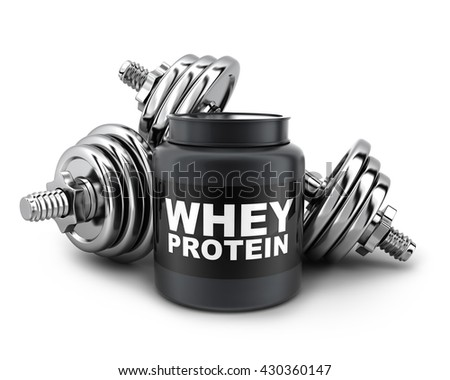 Dumbbells and whey protein on white background (done in 3d rendering)