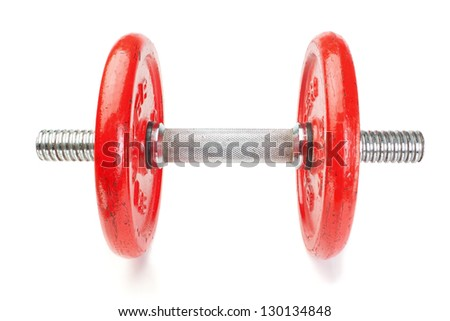 Dumbbells fitness on a white background. - stock photo