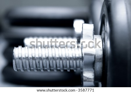 Dumbbells isolated on grey background