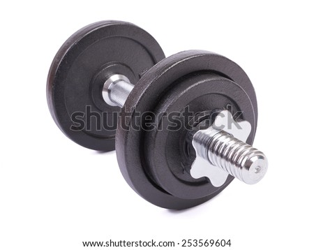 Dumbbells isolated on white background - stock photo