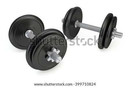 Dumbbells isolated on white background with clipping path. 3d rendering - stock photo