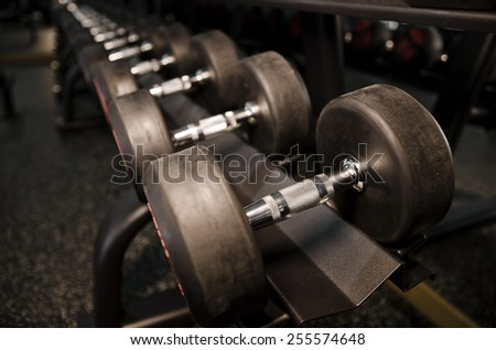 Dumbbells weights in gym closeup image - stock photo