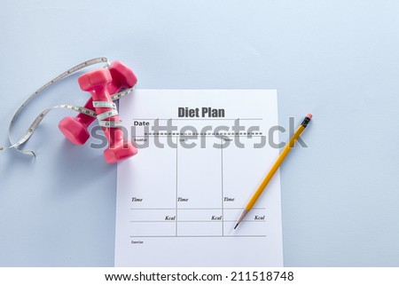 Dumbbells with measuring tape and diet Plan