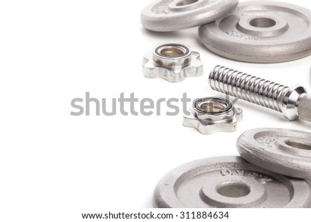 Dumbell on isolated white background.