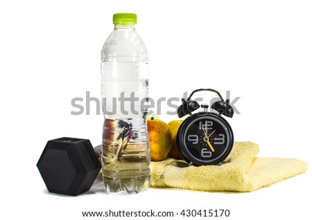 Dumbells, alarm clock, drinking water and apples. Fitness and health. Isolated on white background - stock photo