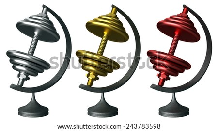 Dumbells three prize-winning places isolated on the white - stock photo
