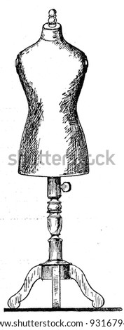 dummy cutter - an illustration of the ABC sewing, Peasant Newspaper Publishers, Moscow, USSR, 1931 - stock photo