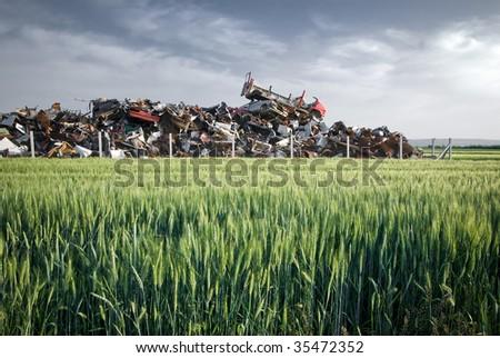 dump in wheat - stock photo