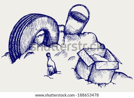 Dump. Mountain of garbage. Doodle style. Raster version - stock photo