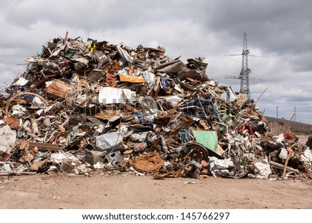 Dump of scrap for recycling in steel making plan.
