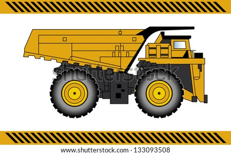 Dump truck construction machinery equipment isolated - stock photo