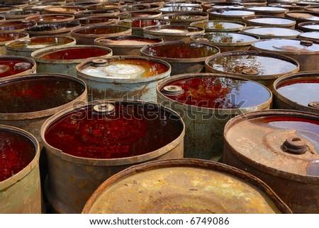 dumped barrels of toxic waste - stock photo