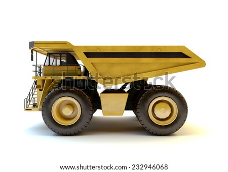 Dumper industrial truck isolated at the white background  - stock photo