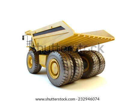 Dumper industrial truck isolated at the white background