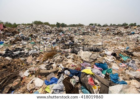 Dumping of garbage, environmental pollution