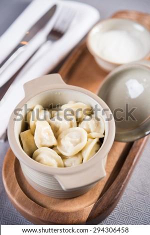 Dumplings Bowl. pork dumplings with soup inside - stock photo