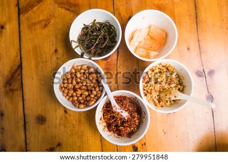 Dumplings soup seasoning breakfast in China - stock photo