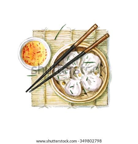 Dumplings - Watercolor Food Collection - stock photo