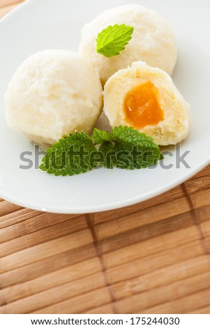 Dumplings with marmelade, freshly cooked and served. - stock photo