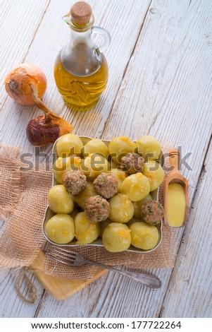 dumplings with meatball - stock photo