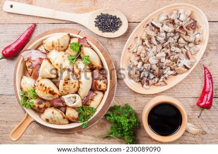 Dumplings with mushroom stuffing - stock photo
