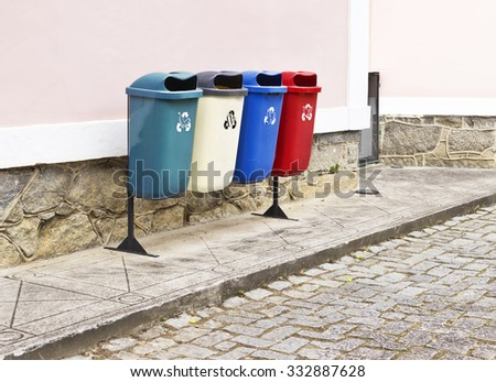 Dumps for garbage collection - walk - recyclable - stock photo