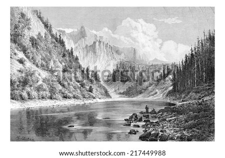 Dunajec Valley near Szczawnica Town in the Tatras Mountains, Poland, drawing by G. Vuillier, from a photograph, vintage engraved illustration. Le Tour du Monde, Travel Journal, 1881 - stock photo