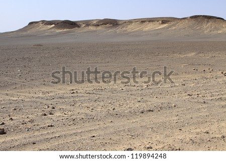 Dune and gravel plains in Skeleton Coast Park. Namibia - stock photo