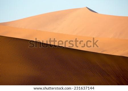 Dune shapes, Sossusvlei, Namib-Naukluft National Park, Namibia - stock photo