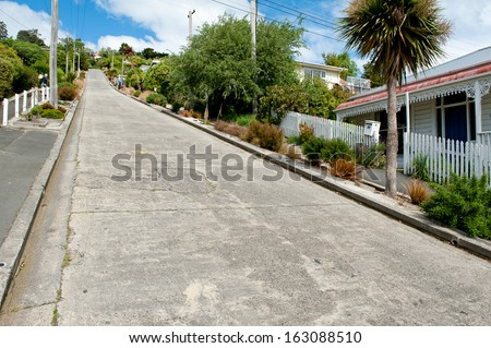 DUNEDIN, NEW ZEALAND - OCTOBER 13, 2013: Baldwin Street, the worlds steepest road located in Dunedin on October 13, 2013  - stock photo