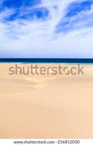 Dunes and beach in Boavista, Cape Verde - stock photo