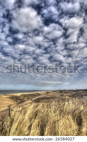 Dunes at the Dutch coast with lots of sky