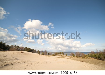 Dunes in Latvia at gulf of Riga, Baltic sea.