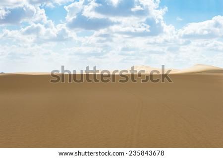 Dunes in the Sahara desert in Egypt - stock photo