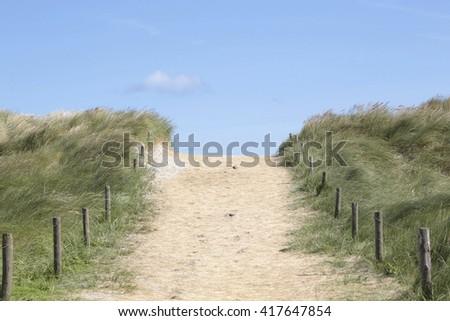 Dunes of dutch Wadden island Ameland   - stock photo