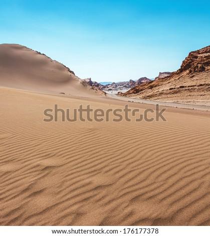 Dunes of Moon Valley in Atacama Desert, Chile - stock photo