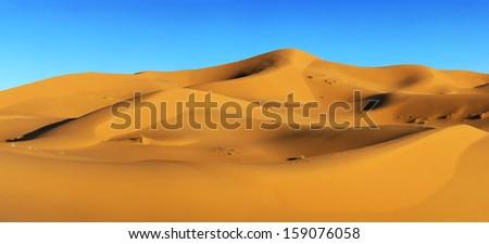 Dunes of Sahara desert in Morocco  - stock photo