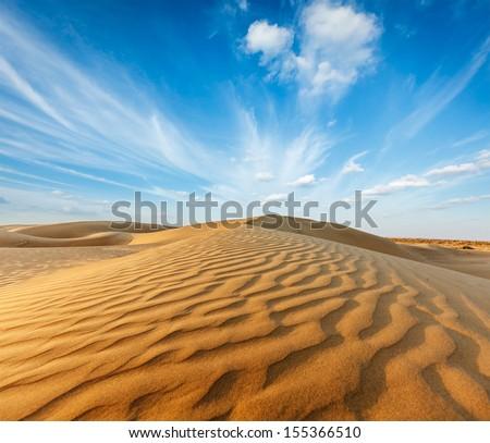 Dunes of Thar Desert. Sam Sand dunes, Rajasthan, India - stock photo