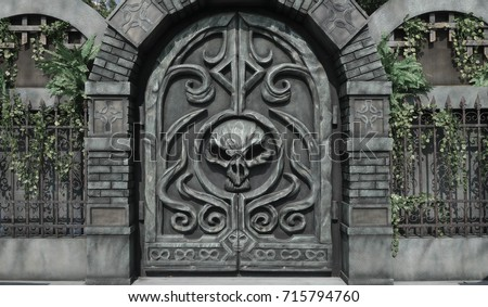 Dungeon door. Details of Halloween decoration at haunted house mansion big skeleton head on & Dungeon Door Stock Images Royalty-Free Images \u0026 Vectors ... Pezcame.Com