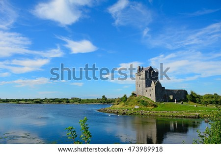 DUNGUAIRE - AUGUST 15 : Castle on 15 August 2016 at Dunguaire, Ireland. Dunguaire has a charming medieval castle.