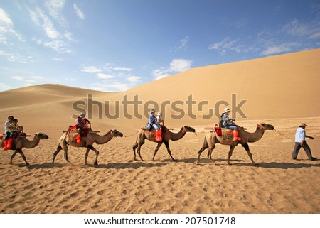 DUNHUANG, CHINA - JULY 27:  Camel caravan on the Mingsha desert in profile against a bright blue sky on July 27, 2012 in Dunhuang located, China - stock photo