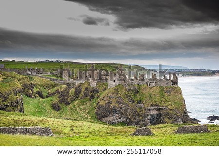 Dunluce Castle, Antrim, Northern Ireland - stock photo