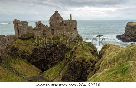 Dunluce castle ruins in Northern Ireland - stock photo