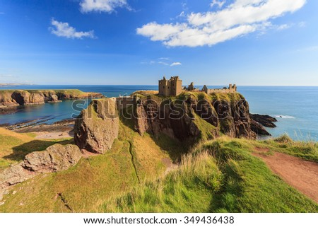 Dunnottar Castle with blue sky in - Stonehaven, Aberdeen, Scotland UK