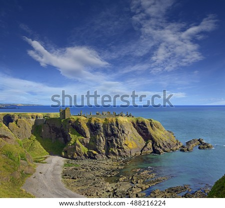 Dunnottar Castle with blue sky in - Stonehaven, Aberdeen, Scotland, United Kingdom