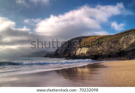 Dunquin bay beach in Ireland - Co. Kerry - HDR - stock photo