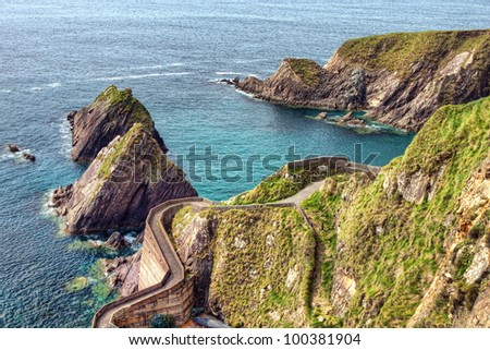 Dunquin Pier on the Dingle Peninsula in Ireland. - stock photo